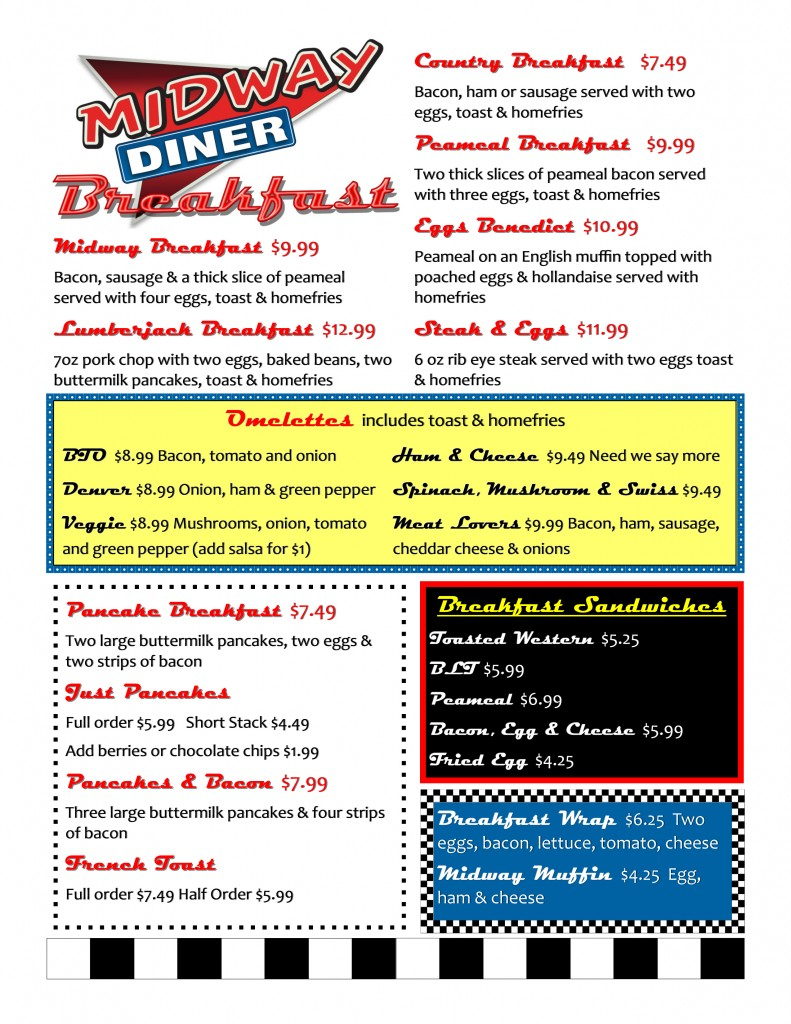 Midway Diner Barrie Breakfast Menu